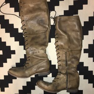 Free People Leather lace-up boots